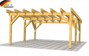 Hochwertiges Doppelcarport mit Flachdach als Selbstbausatz aus Holz: Fichte B/L 6 x 6 m, 14er Pfosten