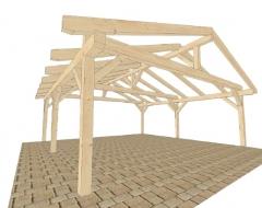Hochwertiges Doppelcarport mit Satteldach als Selbstbausatz aus Holz: Fichte B/L 5 x 5 m, 14er Pfosten