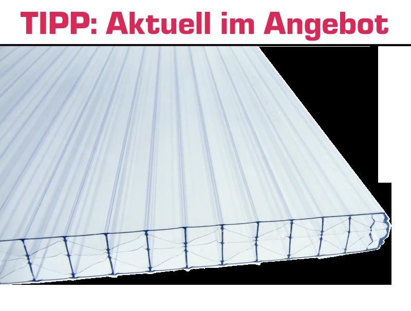 Doppelstegplatte klar 2100mm x 4000mm Stegplatte aus Polycarbonat Steg 3 Fach 16mm stark